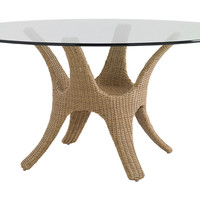 """Aviano Round 60"""" Glass-Top Dining Table, Outdoor Dining Tables"""