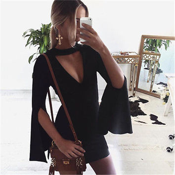 Fashion Women Long Sleeve Elegant Victorian Night Club Deep V neck Bodycon Sexy Mini Vestido Dress  boho bohemian