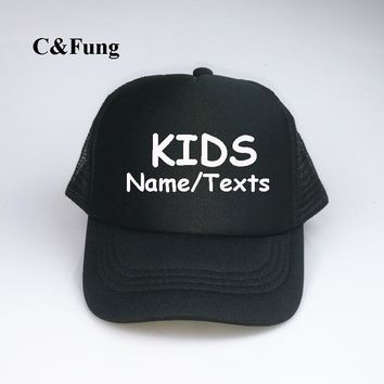Trendy Winter Jacket Custom KIDS Trucker Hats personalized w/your Text very own snapback adjustable Birthday Parties Special Occasions party hat caps AT_92_12
