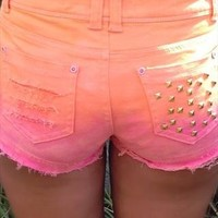 Sunset Fade Ombre Stud Shorts from Dressingup