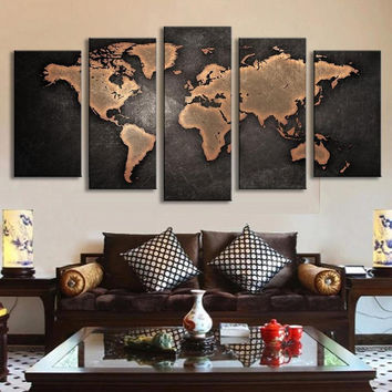 large framed vintage world map rustic wall art canvas print