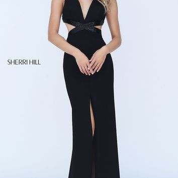 Deep V-Neck Side Cut Out Prom Dress