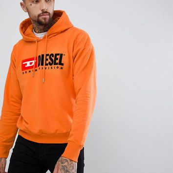 Diesel S-Division industry logo hoodie orange at asos.com