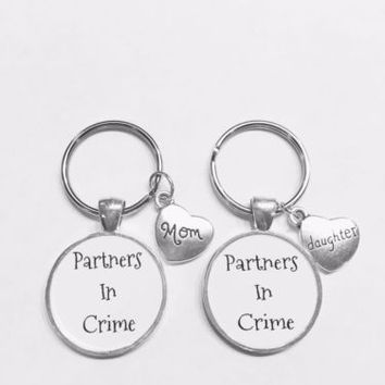 Mom Daughter Partners In Crime Gift Keychain Set