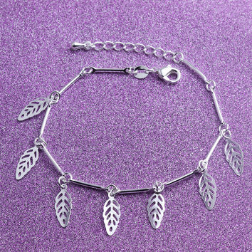 Shiny Hot Sale Great Deal Stylish New Arrival Gift Awesome Korean Fashion Accessory 925 Jewelry Leaf Adjustable Bracelet [8171772679]