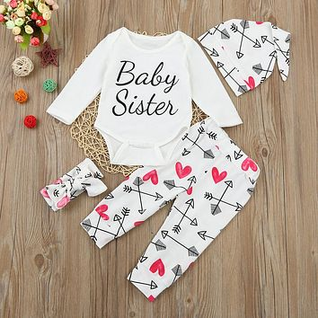 """4 Pc """"Baby Sister"""" Long Sleeve Onesuit with Hear and Arrow Print Pants, Hat and Headband"""