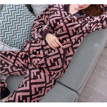 FENDI Autumn Winter Newest Fashionable Women Casual Flannel Long Sleeve Thick Pajamas Two Piece Set Coffee