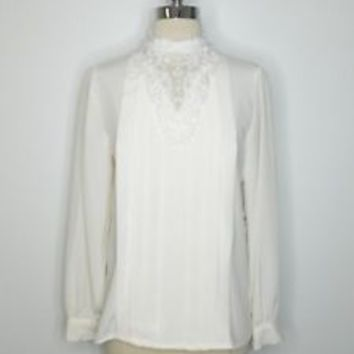 vintage womans ivory WORTHINGTON victorian lace pleat work blouse Sz 6 L37-30