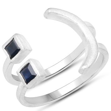LoveHuang 0.33 Carats Genuine Blue Sapphire Emoji Ring Solid .925 Sterling Silver With Rhodium Plating, Matte Finish