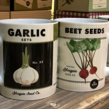 Magpie - Roots & Shoots Gardening Seeds - Big Coffee Mug (Beet & Garlic)