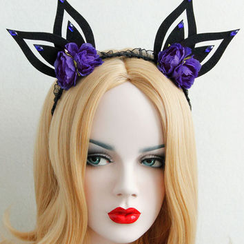 Black with Purple Floral and Stone Fairy Ear Headband