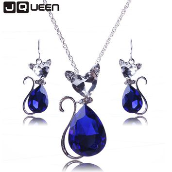 Crystal Cat Catty Pendant Necklace Earrings Jewelry Sets