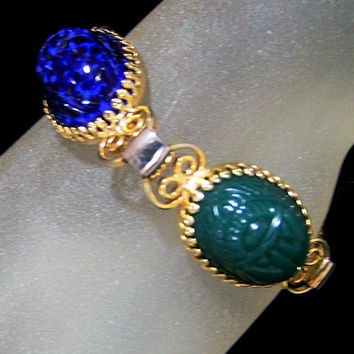Molded Glass Scarab Bracelet, Egyptian Revival Jewelry, Chunky Faux Stone Scarabs, Gold Tone Setting, Mid Century Era 1017