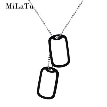 MiLaTu Personalized Engrave Words Army Tags Stainless Steel Dog Tag ID Pendant Necklace DIY Men Jewelry Gift NE449G