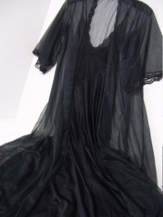 Black Peignoir Set Old Hollywood Galmour From Cachecastle