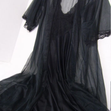 Black Peignoir Set Old Hollywood Galmour  Long Sheer Black Robe Lace Long Nightgown Negligee Bridal Honeymoon Resort Cruise Wear Ready