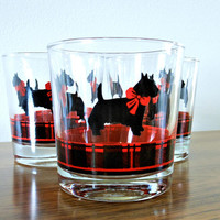 Christmas Glasses,  Anchor Hocking Scottie Dog Rocks Glasses, FITZ Plaid Scottish Terrier Cocktail Glasses, Scottie Dog Whisky Glasses