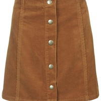 PETITE Cord Button Front A-Line Skirt - Topshop