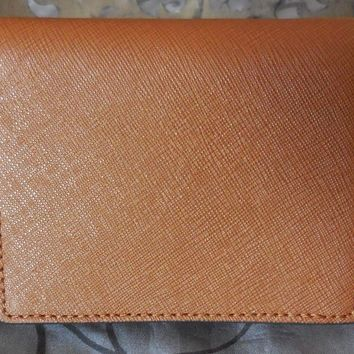 """MICHAEL KORS ~Jet Set~Saffiano """"FLAP CARD HOLDER WALLET""""~Luggage~Brown~NWT $68"""
