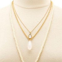Gold Layered Pearl Charm Necklace by Charlotte Russe