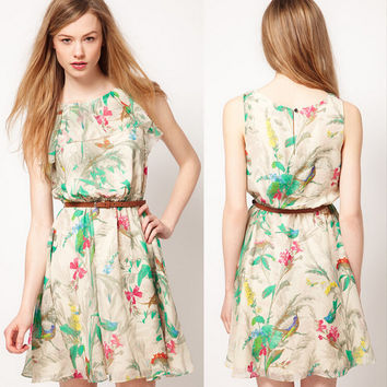 Floral Print Sleevless Chiffon Dress with Belt