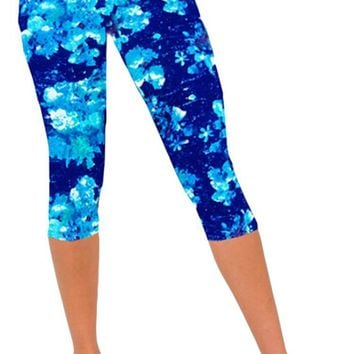 Ancia Womens Active Workout Capri Leggings Fitness Tights Pants Tracksuits Blue Snows L