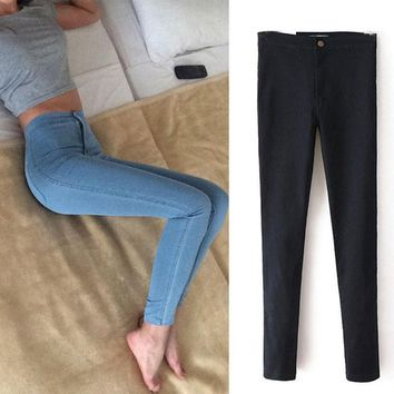 2017 Fashion high waist Women jeans Stretch Skinny jeans Female calca jeans slim Pencil pants black Denim Ladies pants C0455