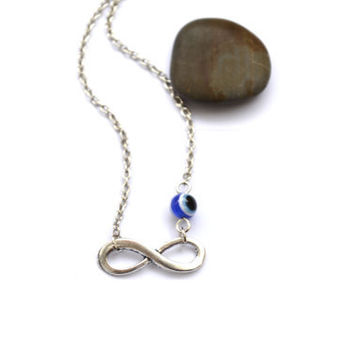 Infinity Necklace. Evil Eye Necklace. Bridal Necklace, Bridesmaids Necklace, Friendship Gift. Dainty, Feminine. Infinity &  Evil Eye Jewelry
