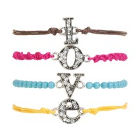 Aeropostale Womens Love Bracelet 4-Pack, One