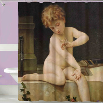 vintage repro painting shower curtain,