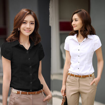 2016 New Contracted Fashion Women's Shirts Elegant OL Dresses Business Formal Short Sleeve Chiffon Blouses Plus Size 5XL Casual