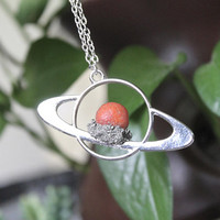 Carnelian Saturn Necklace, Celestial Jewelry, Galaxy, Outer Space Necklace, Wiccan Jewelry, Boho Pendant, Festival Fashion, Planet Jewelry