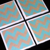 Tile Coasters- Coasters- Drink Coasters- Chevron Coaster- Chevron Home Decor- Turquoise and Grey Chevron Printed Tile Coasters- Set of 4