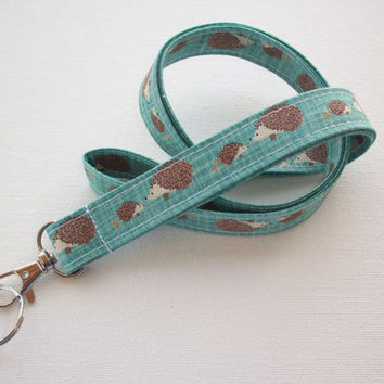 Lanyard ID Badge Holder - Hedgehogs on Teal blue - Lobster clasp and key ring