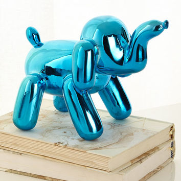 Imm Living Chrome Balloon Elephant, Blue | Neiman Marcus