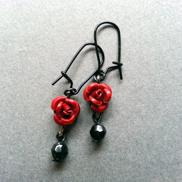 Red Rose Earrings; Black and Red; Flower; Valentines Day