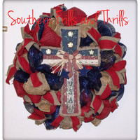 Burlap Patriotic Wreath with Cross