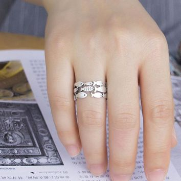 Sterling Silver School of Fish Ring