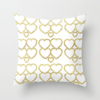 Golden hearts Throw Pillow by VanessaGF