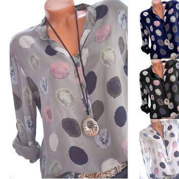 Women Fashion Polka Dots Print Chiffon Blouse Long Sleeve Shirt Tops
