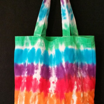 Hand Dyed Multi Color Tie Dye Carry All Bag  | Cotton Canvas