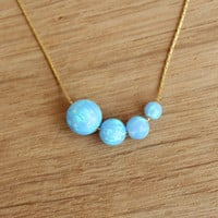 Free Shipping! Ball bead charm pendant opal necklace, gold filled chain, 4mm / 5mm / 6mm / 8mm round light blue opal beads, dainty necklace