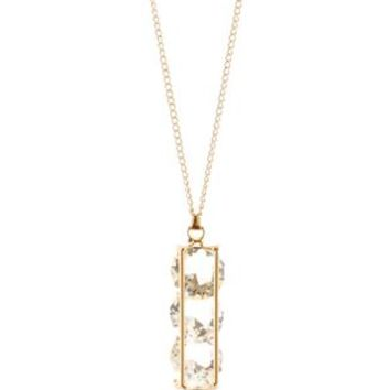 Gold Stone Vile Pendant Necklace by Charlotte Russe