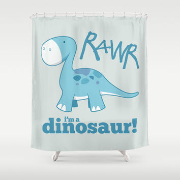 RAWR I'm a Dinosaur! Shower Curtain by Lisa Marie Robinson