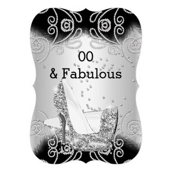 "Fabulous Silver Glitter High Heels Birthday 3 5"" X 7"" Invitation Card"