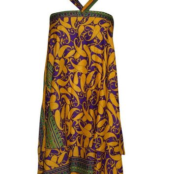 Women's Wrap Skirt Purple /Yellow Printed PREMIUM Silk Sari Skirts Cruise Dress ... ...