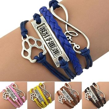 Hot Love Best Friend Footprint Infinity Friendship Bangle Charm Multilayer Bracelet 6YBW 7EBW BDLW