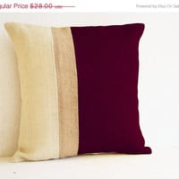 Valentine SALE Outdoor Pillows - burgundy burlap pillow color block - Maroon White Decorative cushion cover- 18x18pillows - Burgundy White E