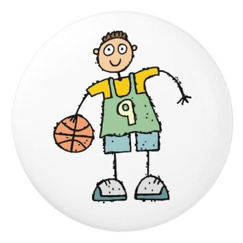 Basketball Boy Ceramic Drawer Knob Ceramic Knob