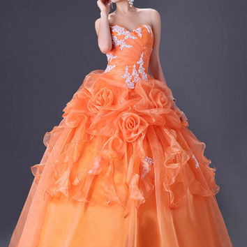 Orange Sweetheart Ruched Ruffled Quinceanera Dress